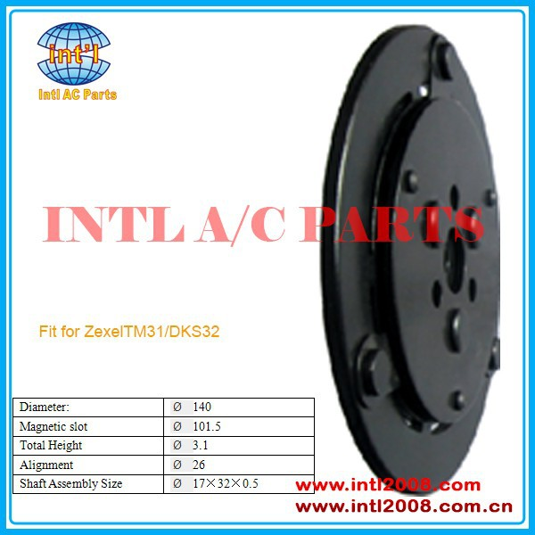 Zexel TM31/DKS32 compressor clutch hub/plates /dust covers Diameter:140 mm China auto air conditioner parts factory