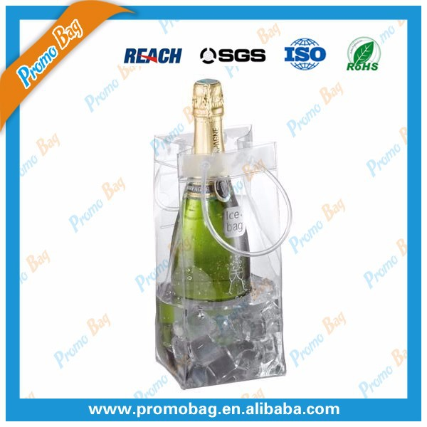 Clear PVC Ice Bag Wine Bottle Cooler Bag PVC Wine Bag