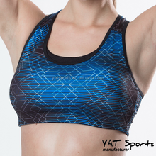 Wholesale Ladies Sports Bra factory design sublimated pattern printing Hot Sexy Women's Running sports yoga bra