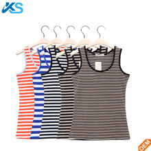 Ladies cotton spandex elastic yarn dyed scoop neck sleeveless signet tank top