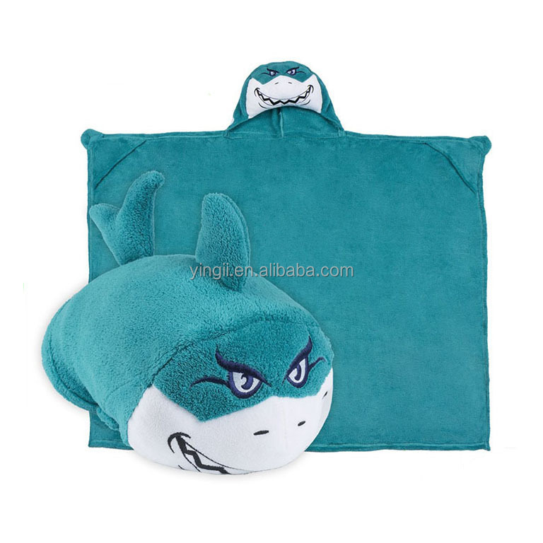 Comfy Critters Kids Huggable Hooded bath towel Plush Blanket or Transform It Into An Animal Shaped Pillow Blue Shark