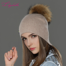 Trendy winter women knit beanie cap for hat with racoon pompom