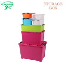 Large Plastic Storage Box 5 Pack Container Tote Bin with Flip Top Lid