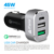 QC 3.0 Car Charger Black Universal 3 USB 45W Type C car adapter Aluminium