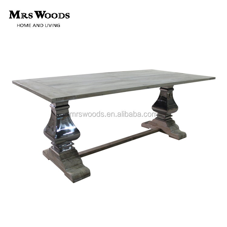 Chrome stainless steel trestle base solid wood <strong>oak</strong> refectory dining <strong>table</strong>