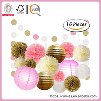 Set of 16 Mixed Gold Pink White Tissue Paper Pom Poms and Paper Lantern Wedding Birthday Baby Shower Hanging Decorations
