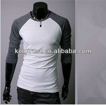 long sleeve two color skin tight cotton/lycal t-shirts for men ...