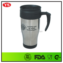 eco friendly customized 14oz insulated travel coffee mugs with handle