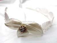 Newest designs white elegant lady flower and crystal stone headbands for adults