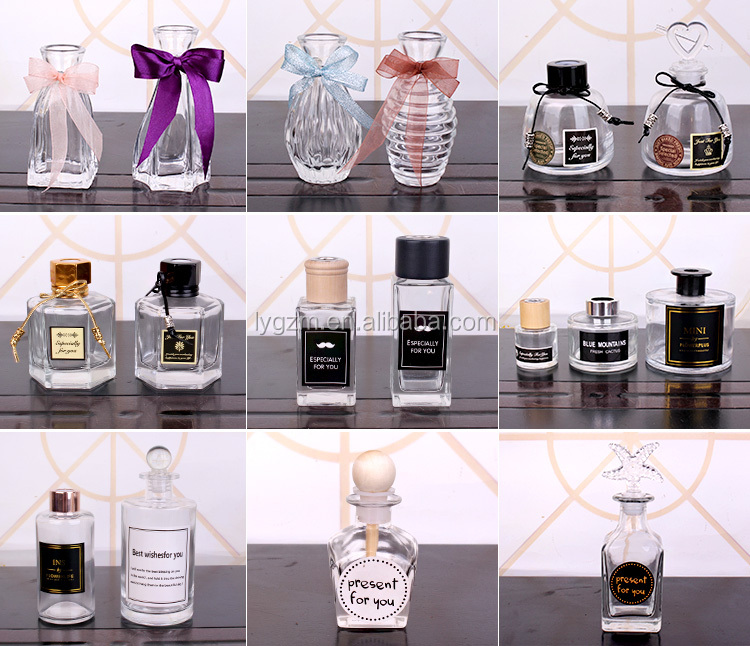 Wholesale empty glass essential oil aroma reed diffuser bottles with glass stopper