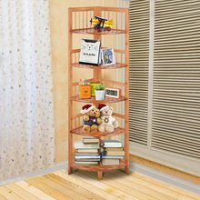 Furniture Home Bedroom 5-Tier Corner Bamboo Shelf Storage Organizer Display Space Saving Shelving