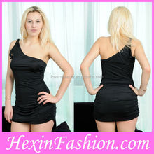 Factory Wholesale Women Hot Fashion Sexy Black One-Shoulder Short Party Dress Patterns
