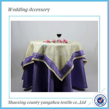 100%Polyester wedding brocade jacquard table cloth, table overlays