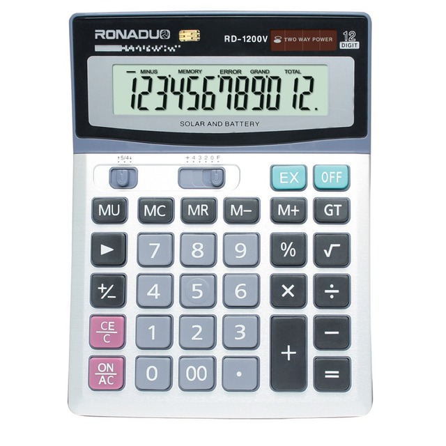 10+2 digits display office desk top calculator dual power soft grip calculator 12 inches function ruler calculator