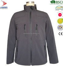 Mens breathable waterproof windproof 3 LAYER soft-shell jacket with foldable hood