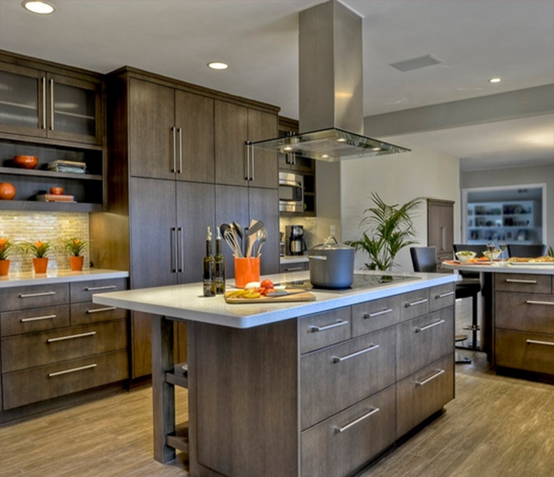 Modern laminate kitchen cabinets with visible handle