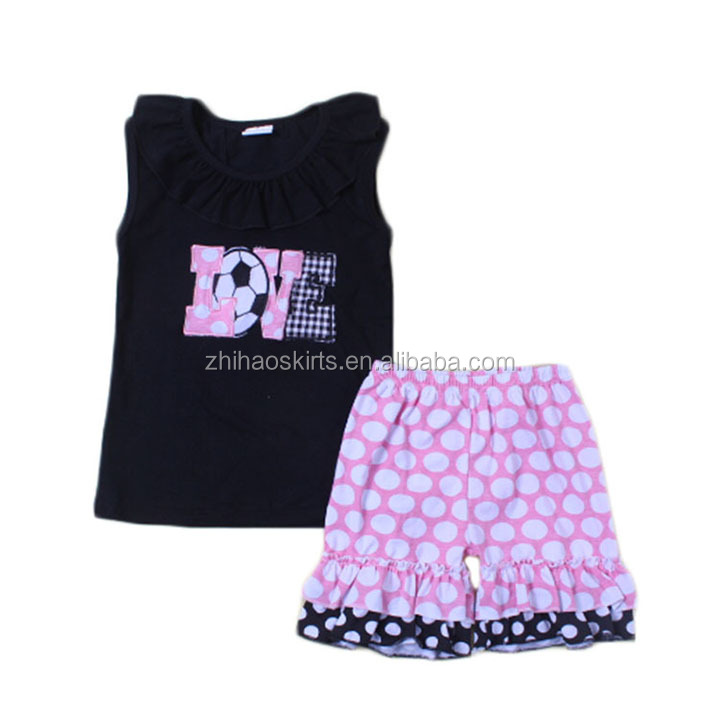 black shirt with embroidery match pink polka dots short summer outfit wholesale children's boutique clothing