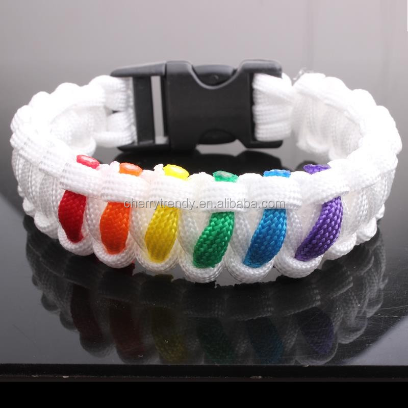 Rainbow Colored Paracord Survival Bracelet with Buckle
