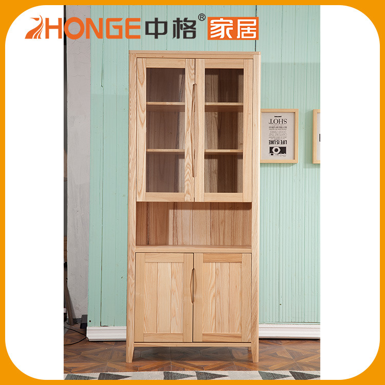 The Main Solid Wood Frame Corner Glass Liquor Display Cabinet