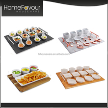 Hotel Ceramic Porcelain Dishes And Plates, Slate Snack Serving Dish, Tapas Set Tableware