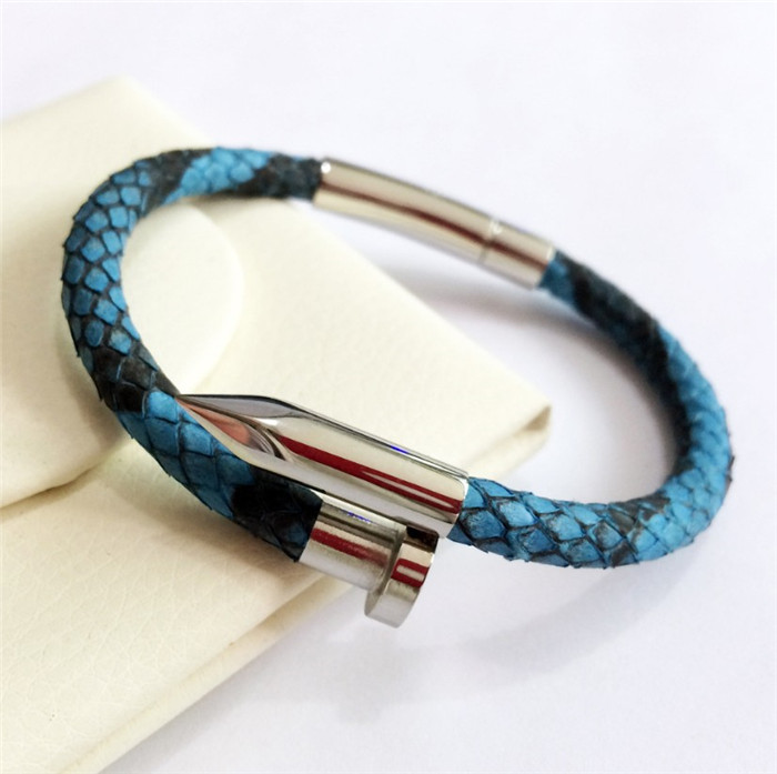 Genuine Python Leather Screw style Stainless Steel Nail Bracelet
