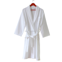 Hotel White long Cotton waffle bathrobe in bathrobes for men and women