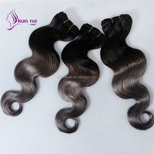 popular hair extension human virgin brazilian ombre hair color T1B/Grey china suppliers