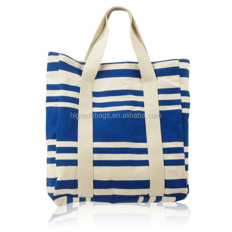 stripe canvas beach tote bag wholesale