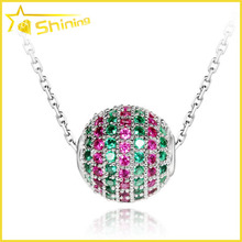 white gold chain ball charms silver 925 cz micro pave ball pendant
