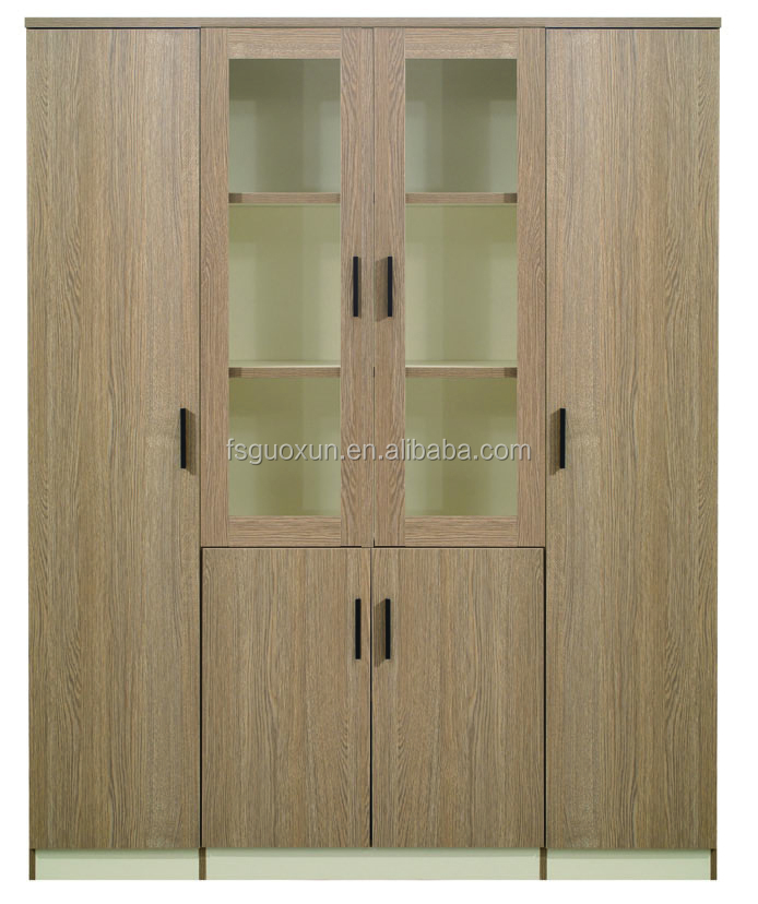 Guoxun OAK Bookcase Lock Office Combination Filling Cabinet With Glass Doors
