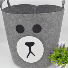 Creative bear hand-made Barrel Shapped felt Storage Organizer Basket