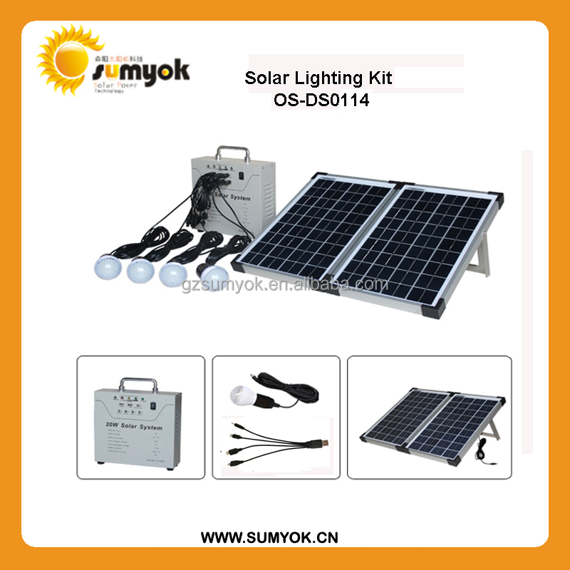 10-40W Sumyok solar lighting system with 14AH battery and portable solar kits