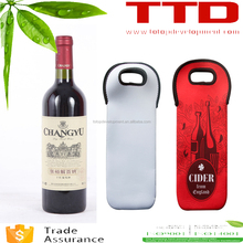 customize printing heat transfer logo printing , dye sublimation blank wine bottle holder bag