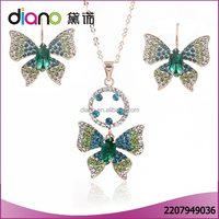 Wholesale fashion accessories jewelry crystal rhoneston wedding butterfly jewelry set for women