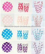 Polka Dots Party Paper Tableware Plates Cups Napkins Straws Cutlery