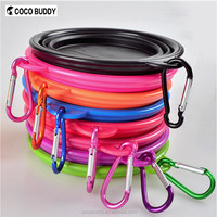 Colorful Foldable Silicone pet dog bowl with Carabiner hook OEM Printing logo