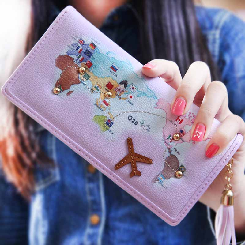 Korea Style Map Lady Change Purse Tassel Plane Women Wallets Portable Carteira Feminina Cute Wallets Coin Purse Card Holders