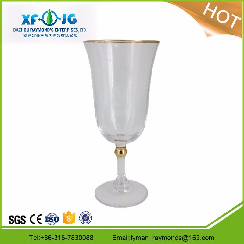 Golden rimmed wine glass.