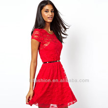 2014 Skate Dress in Lace with Short Sleeve and Belts Elegant Design Women Dresses