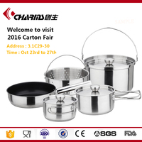 Camping Cookware Mess Kit , Kitchen Cookware Stainless Steel , Cooking Ware Kitchenware Stainless Steel