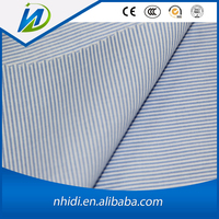 T/C 65/35 blue and white stripe printed poplin shirt fabric