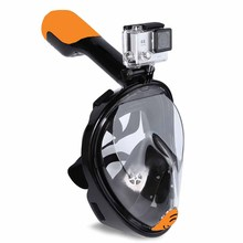 Full Face Snorkel Mask- Panoramic 180 view Snorkeling Diving Mask For Adults And Kids with camera mount