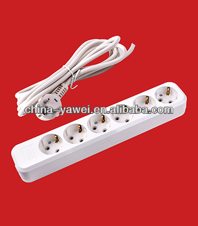 group socket 6 gang with wire and earthing/russia extension socket