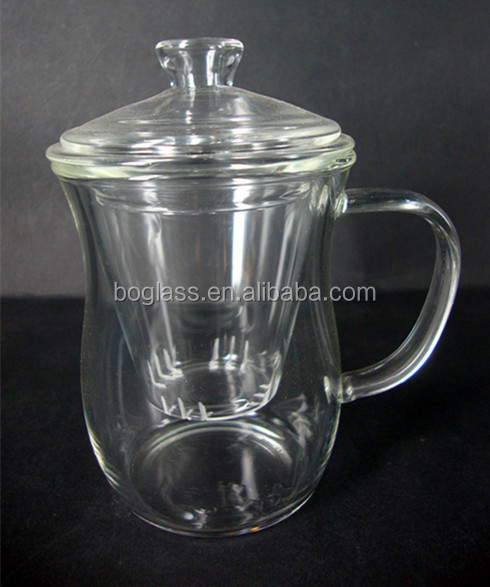 glass tea cup with strainer with lid