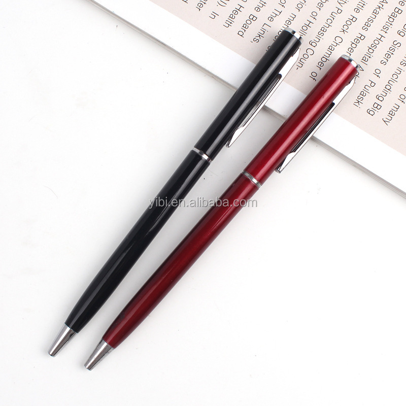 high quality thin slim custom logo hotel twist metal ball pen promotional pen