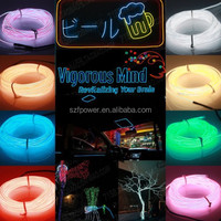 Fashionable car decorative el wire cable / el wire neon rope light / el flashing wire wholesale