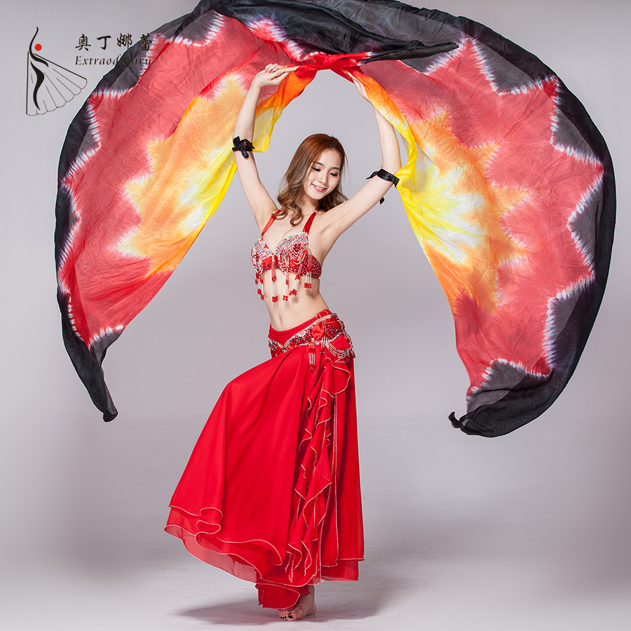 Tie Dye 100% Real Silk isis Wings for Belly Dance