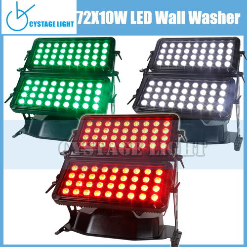 Professional Color Changing Qutdoor Llights Led Washer 72*10W IP65 Outdoor Double Head Led Wall Washer Light
