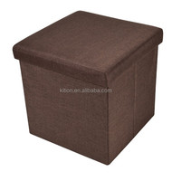 Storage Ottoman Bench Home Storage Stool Polyester Linen Storage Ottoman
