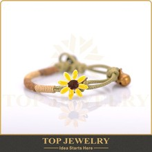 Fashion waxed cord adjustable bracelet, colorful jewelry polymer clay flower charm and metal small craft bell